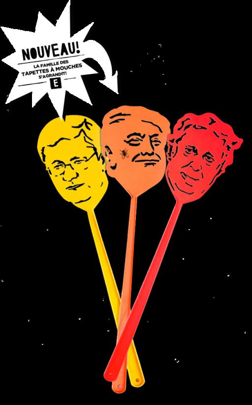 Tapettes à mouche à l'effigie de Stephen Harper, Donald Trump et Jean Charest